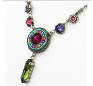 Circle Drop Necklace with Multicolored Swarovski Crystals