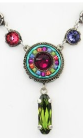 Circle Drop Necklace with Multicolored Swarovski Crystals