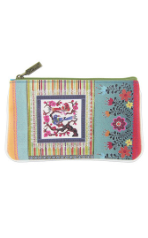 MEXICAN TEXTILE BIRD PRINT FAUX LEATHER POUCH