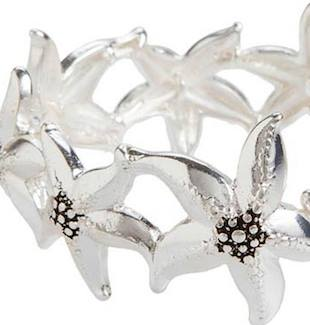Shiny Silver Nine Dancing Starfish Bracelet