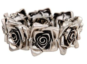 Silver Row of Roses Bracelet