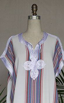 Stripe Caftan White