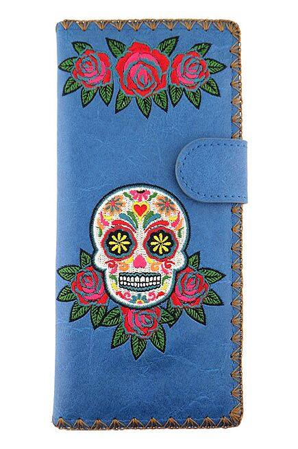 Sugar Skull Blue Wallet