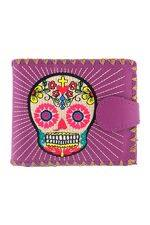 Sugar Skull Purple Medium Wallet With Embroidery