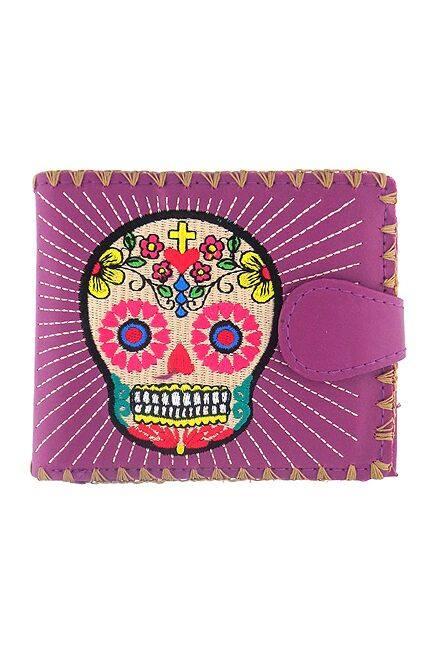 Sugar Skull Purple Medium Wallet With Embroidery