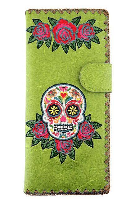Sugar Skull Green Wallet