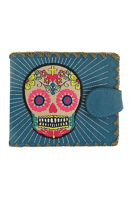 Sugar Skull  Blue Medium Wallet With Embroidery