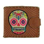 Sugar Skull  Brown Medium Wallet With Embroidery