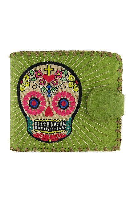Sugar Skull  Green Medium Wallet With Embroidery