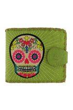 Sugar Skull  Green Medium Wallet With Embroidery