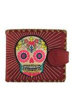 Sugar Skull Red Medium Wallet With Embroidery
