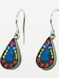 Firefly Teardrop Earrings With Caribbean Blue Swarovski Crystals