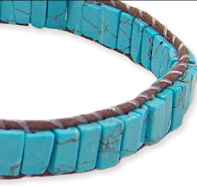 Square Turquoise Bead Pull Bracelet
