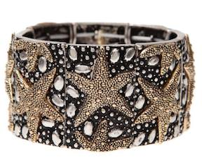 Two Tone Texture Oxidized Rectangle Pebble Sea life Bracelet