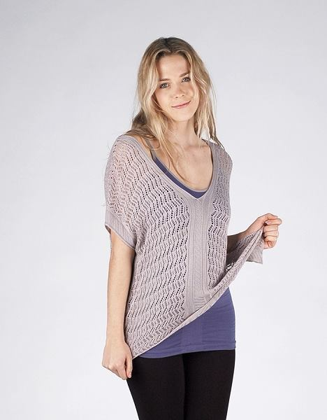 V-Neck Pointelle Boxy Top Opal Grey