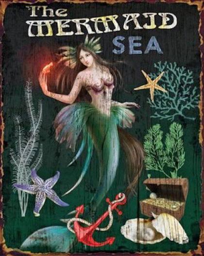 Vintage Metal Mermaid Sign