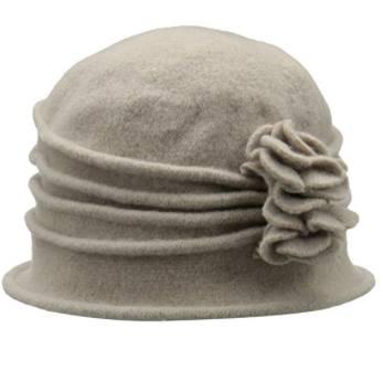 Women's Knit Wool Cloche Hat with Double Flower