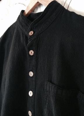 Mandarin Collar Shirt in Black