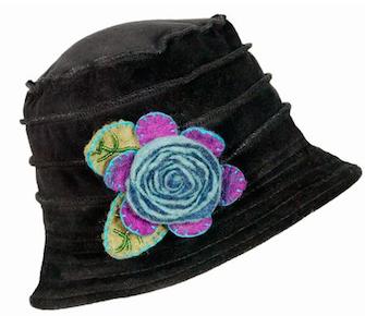 Velvet  Black Hat with Felt Flower