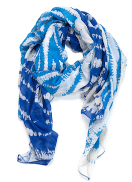 Two Toned Tye-Dye Oblong Scarf Light Blue and Blue