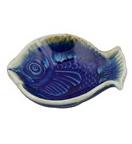 River Fish Tray Stone Blue Ceramic