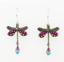 Dragonfly Earrings With Pink Colored Swarovski Crystals