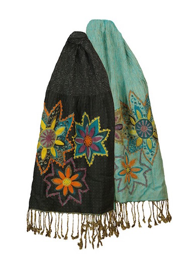 Embroidered Reversible Scarf Black