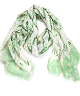 Faded Zig Zag Oblong Scarf Green