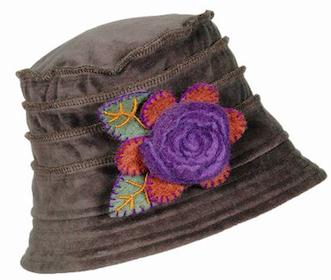 Velvet Gray Hat with Felt Flower