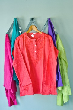 Crepe Cotton Kurta Blouse in Melon