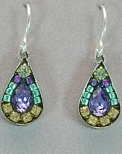 Firefly Mosaic Tear Drop Earrings Lavender