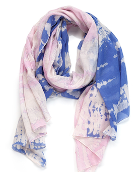 Two Toned Tye-Dye Oblong Scarf Pink and Blue