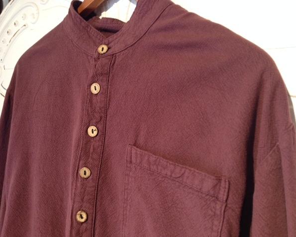 Mandarin Collar Shirt in Prune