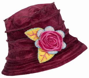 Velvet  Purple Hat with Felt Flower