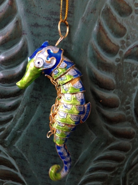 Articulated Blue Seahorse Ornament