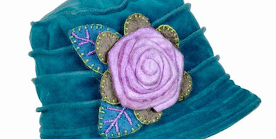 Velvet Teal Hat with Felt Flower