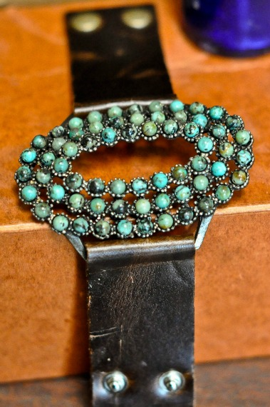 Oblong Turquoise Leather Snap Bracelet
