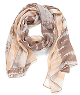 Two Toned Tye-Dye Oblong Scarf Yellow & Brown