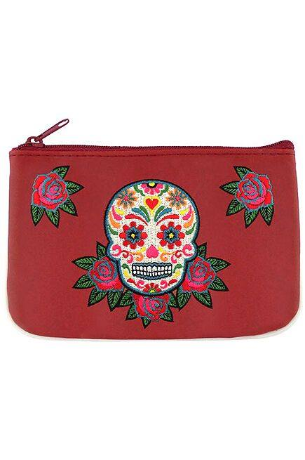 Calavera Embroidered Red Vegan Leather Small Pouch