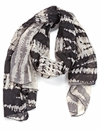 Two Toned Tye-Dye Oblong Scarf Black & Gray