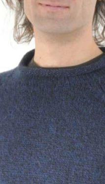 Blue Alpaca Knit Roll Neck Sweater