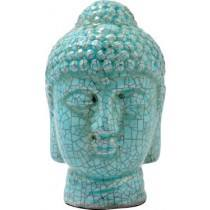 Blue Crackle Buddha Head