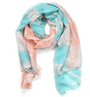 Two Toned Tye-Dye Oblong Scarf Blue & Orange