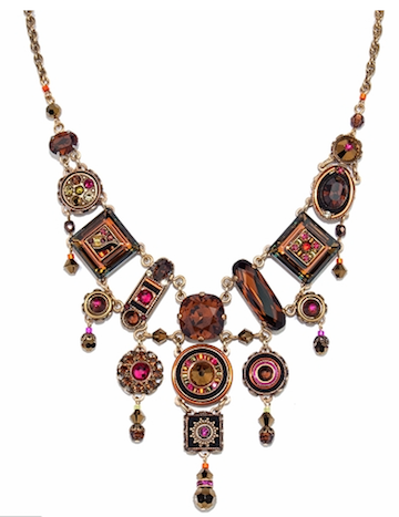 Large Tiered Necklace With Smokey Topaz Colored Swarovski Crystals Handcrafted in Guatemala