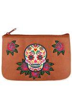 Calavera Embroidered Brown Vegan Leather Small Pouch