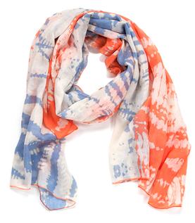Two Toned Tye-Dye Oblong Scarf Periwinkle & Coral