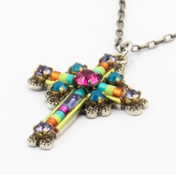 Cross Necklace Medium Pendant With Multicolored Swarovski Crystal Handcrafted in Guatemala