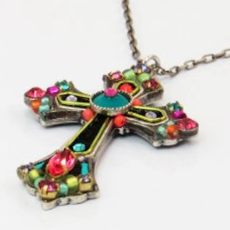 Cross Pendant With Multicolored Swarovski Crystals Handcrafted in Guatemala