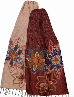 Embroidered Reversible Scarf Red