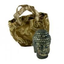 Faux Brass Buddha Head in Silk Bag
